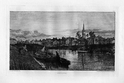 Ca. 1870 Xavier de Dananche Neuville Ain eau forte gravure etching Radierung