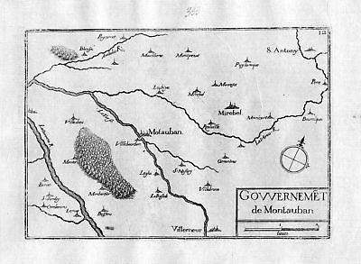 Ca.1630  Montauban Tarn-et-Garonne Quercy Frankreich France gravure carte Tassin