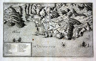 Ca. 1645 Collioure siege bataille gravure plan Ansicht Kupferstich antique print