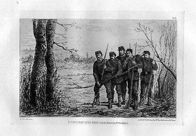 Ca. 1870 E. Selle Fontenay sous Bois Garde Nationale eau forte gravure etching