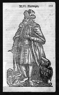1750 - Norwegen Norway Tracht Trachten costumes Holzschnitt antique print