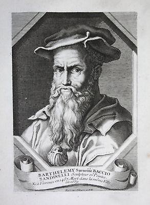 18. Jh. Baccio Bandinelli sculptor scultore Kupferstich Portrait engraving