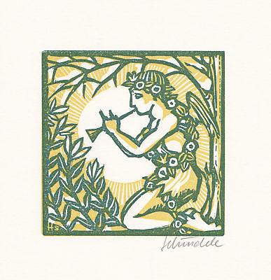 1987 Heinz Schindele Heinrich Heine Linolschnitt zu einem Gedicht signiert