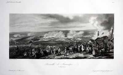 Ca. 1840 Jemmapes bataille battle Ansicht vue estampe Stahlstich antique print