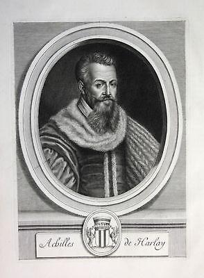 Ca. 1700 Achille de Harlay Richter Jurist avocat lawyer Portrait Kupferstich