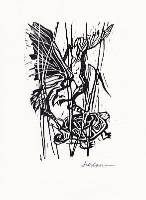 Otto Schlosser Linolschnitt Aesop-Fabel Die Schildkröte und der Adler signiert