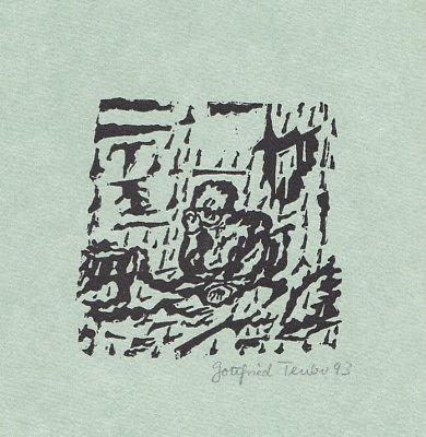 1993 Gottfried Teuber Wilhelm Busch Linolschnitt zu einem Gedicht signiert