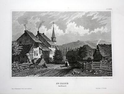 Ca 1850 St. Jakob an der Birs Basel vue gravure Ansicht Stahlstich antique print