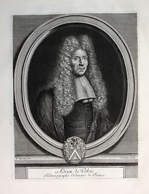 Ca. 1700 Arien de Valois Historiker historien Portrait Kupferstich gravure
