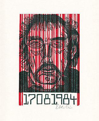 1984 Klaus Eberlein Zweifarben-Originallinolschnitt zum Orwell-Jahr signiert