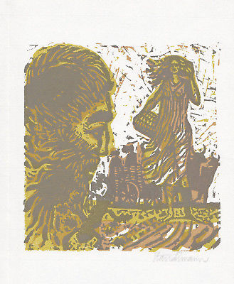 1984 Went Strauchmann Dreifarben- Linolschnitt zu Homers Odyssee signiert