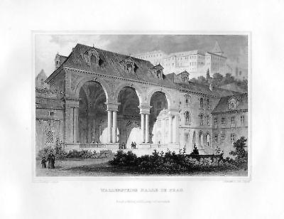 1850 Wallenstein Halle in Prag Prague Tschechien Stahlstich Poppel Lange