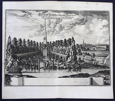 1703 Pleißenburg Leipzig Feuerwerk Ansicht view Kupferstich antique print Merian