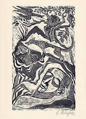1984 Ruth Schefold Original-Holzschnitt der Künstlerin signiert