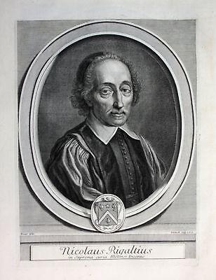 Ca. 1700 Nicolas Rigault Philologe philologue philologist Portrait Kupferstich