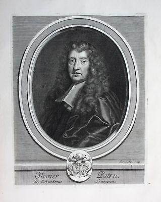Ca. 1700 Olivier Patru Jurist avocat lawyer Portrait Kupferstich engraving
