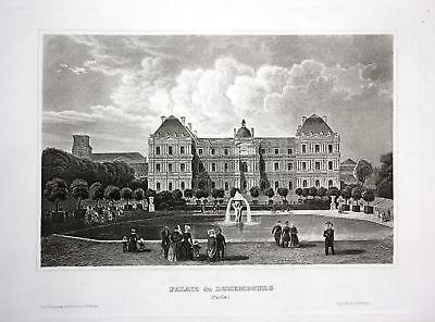 Ca. 1850 Palais du Luxembourg Paris vue gravure Ansicht Stahlstich antique print