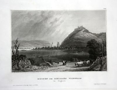 Ca. 1850 Visegrad Pest Ungarn Hungary Ruinen Ansicht Stahlstich antique print