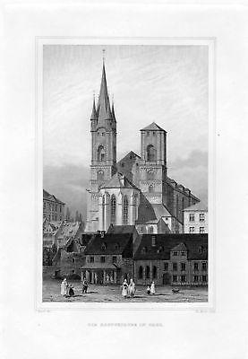 1850 Die Hauptkirche in Eger / Cheb Tschechien Stahlstich Poppel Rosee