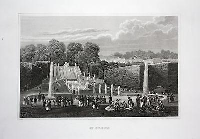 1850 Saint-Cloud Ile-de-France jardin chateau vue gravure Stahlstich antique