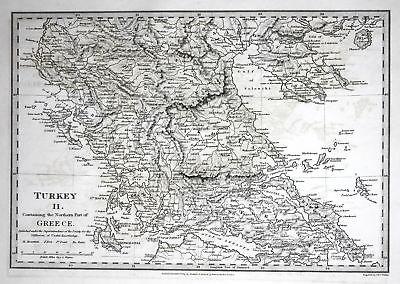 1829 Turkey Türkei Greece Griechenland Thessaloniki SDUK Karte map