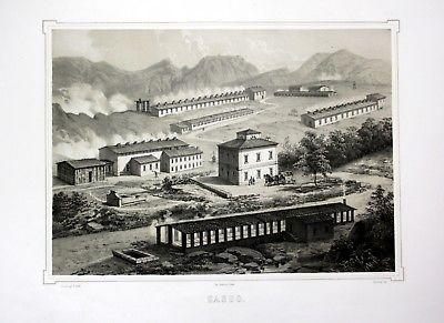 Ca. 1860 Sasso Pisano Toskana Tuscany Italia Italy veduta Lithographie Li 110531 0