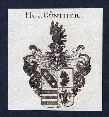 Ca. 1820 Günther Guenther Wappen Adel coat of arms Kupferstich antique pr 143395