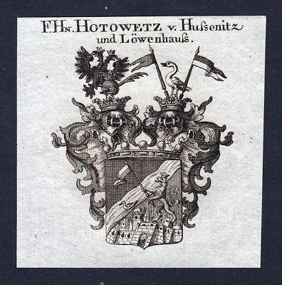 Ca. 1820 Hotowetz Hussenitz Wappen Adel coat of arms Kupferstich antique print