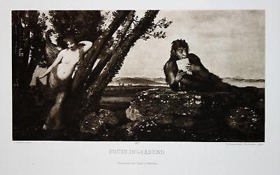 1900 Frühling spring nude Akt Mädchen Panflöte pan flute Photogravure Jugendstil
