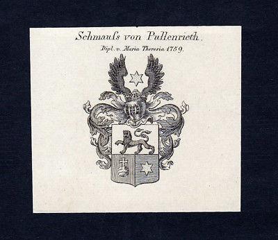 1820 Schmauss Pullenried Wappen Adel coat of arms Kupferstich engraving