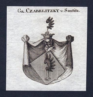 Ca. 1820 Czabelitzky Sautitz Wappen Adel coat of arms Kupferstich antique print