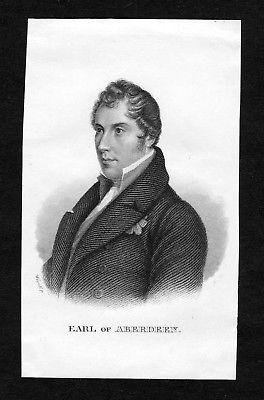 19. Jh. George Hamilton-Gordon Earl of Aberdeen Portrait Stahlstich engraving