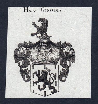 1820 Gingins Waadt Wappen Adel coat of arms Heraldik Kupferstich engraving