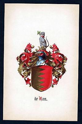 19. Jh. de Ron Wappen coat of arms Heraldik heraldry Manuskript manuscript