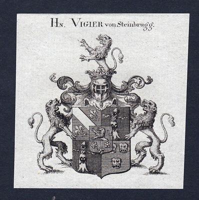 1820 Vigier Steinbrugg Wappen Adel coat of arms Heraldik Kupferstich engraving