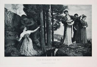 1900 Frauen Frühling spring Mädchen girls Gitarre guitar Photogravure Jugendstil