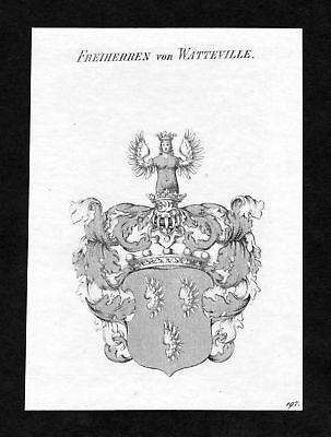 Ca. 1820 Watteville Wappen Adel coat of arms Kupferstich antique print heraldry