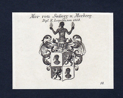 Ca.1820 Mor zu Sunnegg Sunegg Morberg Wappen Adel coat of arms Kupferstich print