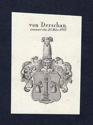 1820 Derschau Wappen Adel coat of arms heraldry Heraldik Kupferstich engraving