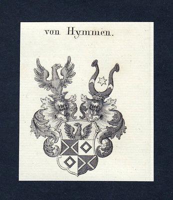 1820 Hymmen Wappen Adel coat of arms heraldry Heraldik Kupferstich engraving