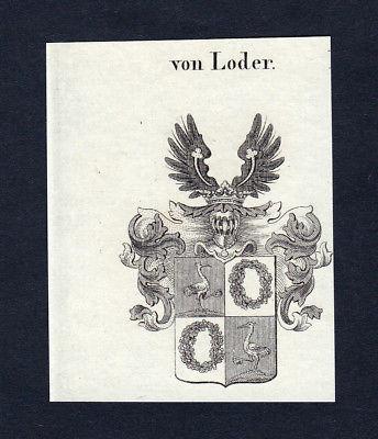 1820 Loder Wappen Adel coat of arms heraldry Heraldik Kupferstich engraving