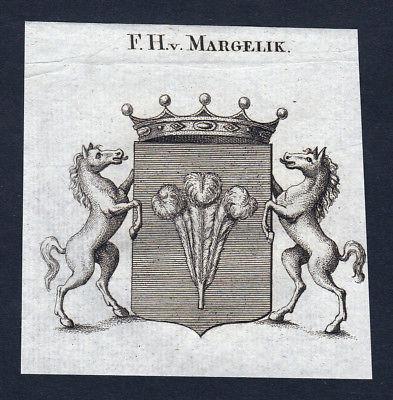 Ca. 1820 Margelik Wappen Adel coat of arms Kupferstich antique print heraldry