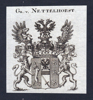 1820 Nettelhorst Westfalen Wappen Adel coat of arms Kupferstich engraving