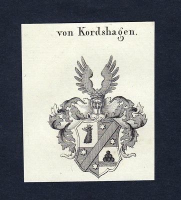 1820 Kordshagen Wappen Adel coat of arms heraldry Heraldik Kupferstich engraving
