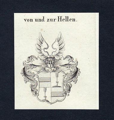 1820 Hellen Wappen Adel coat of arms heraldry Heraldik Kupferstich engraving
