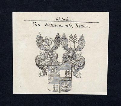 1820 Schneeweiss Wappen Adel coat of arms Heraldik Kupferstich engraving