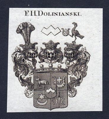 Ca. 1820 Dolinianski Wappen Adel coat of arms Kupferstich antique print heraldry