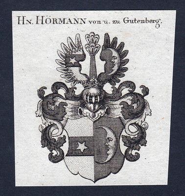 1820 Hörmann Gutenberg Guttenberg Wappen Adel coat of arms Kupferstich engraving
