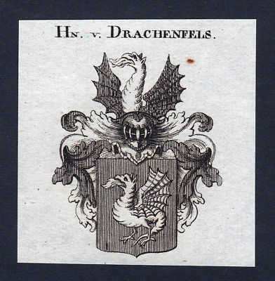 Ca. 1820 Drachenfels Wappen Adel coat of arms Kupferstich antique print h 144267