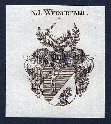 Ca. 1820 Weingruber Wappen Adel coat of arms Kupferstich antique print heraldry